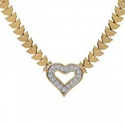 1.00 Carat Pavé Round Cut Diamond Heart Shape Necklace 14K Yellow Gold