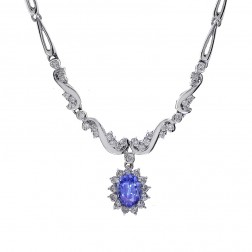 2.30 Carat Oval Shape Tanzanite & Round Diamond Necklace 14K White Gold