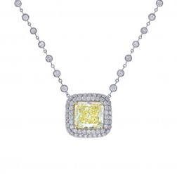 5.82 Carat Fancy Yellow Radiant Cut Diamond Necklace in Platinum