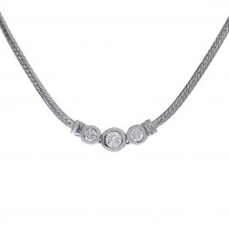 0.55 Carat Round Cut Three Bezel Diamond Necklace 14K White Gold