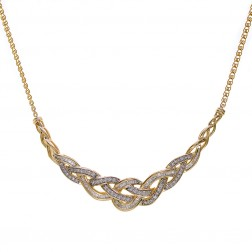 1.00 Carat Round & Baguette Cut Diamond Braided Necklace 10K Yellow Gold