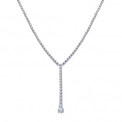 4.30 Carat Round Cut Diamond Tennis Y Necklace 14K White Gold