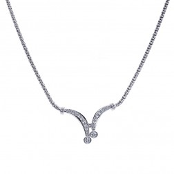 1.55 Carat Diamond Bolero Tie Necklace 14K White Gold