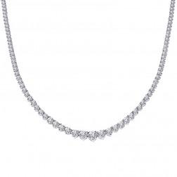 12.25 Carat Diamond Women Necklace 14K White Gold