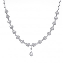 2.75 Carat Diamond Drop Necklace 14K White Gold