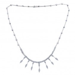 2.00 Carat Round Brilliant Cut Diamond Fringe Necklace 14K White Gold