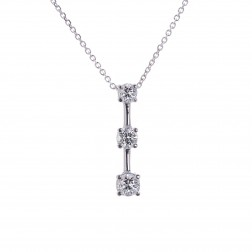 0.95 Carat Round Diamond Three Stone Journey Pendant on Cable Chain 14K White Gold