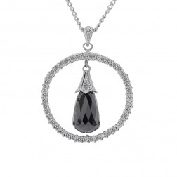 13.00 Carat Black Briolette Diamond Circle Pendant Cable Link Chain 14K White Gold