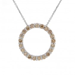 1.75 Carat Fancy Cognac Round Diamond Circle Pendant on Cable Chain 14K White Gold