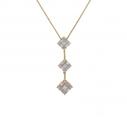 1.25 Carat Round, Princess & Baguette Diamond Pendant on Cable Link Chain 14K Yellow Gold