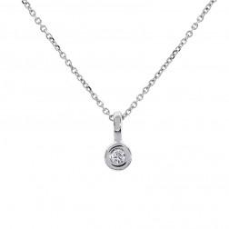 0.10 Carat Bezel Set Round Diamond Pendant on Cable Link Chain 14K White Gold