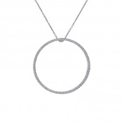 0.75 Carat Round Diamond Circle Of Love Pendant on Cable Link Chain 14K White Gold