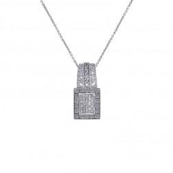 0.75 Carat Round & Princess Diamond Pendant on Cable Link Chain 14K White Gold