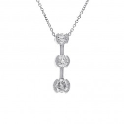 1.05 Carat Three Stone Journey Diamond Pendant Necklace 14K White Gold
