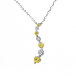 0.35 Carat Round Cut Fancy Yellow & White Diamond Journey Pendant on Cable Chain 14K White Gold