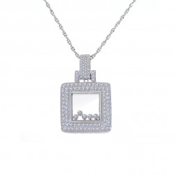 1.50 Carat Round Diamond Baubles Pendant on Cable Link Chain 14K White Gold
