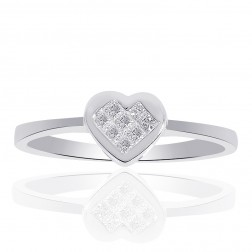 0.15 Carat Princess Cut Diamond Heart Shape Ring  14K White Gold