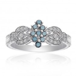 0.30 Carat Blue and White Diamond Women Cocktail Cluster Ring 14k White Gold
