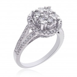 1.35 Carat G-SI1 Round Cut Diamond Cluster Split Shank Engagement Ring 14K