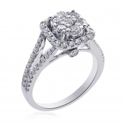 1.25 Carat G-SI1 Round Cut Diamond Cluster Split Shank Engagement Ring 14K White Gold