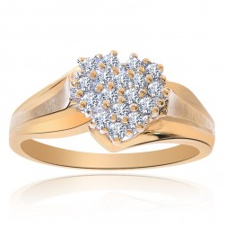 0.25 Carat Round Cut Diamond Heart Cluster Ring 10K Yellow Gold