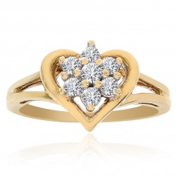 0.20 Carat Round Cut Diamond Heart Cluster Ring 10K Yellow Gold