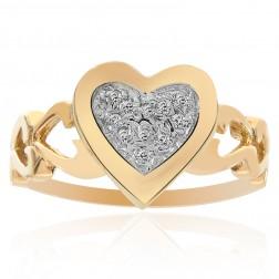 0.10 Carat Round Cut Diamond Heart Ring 14K Yellow Gold