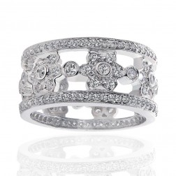 2.00 ctw Round Cut Diamond Designer Eternity Wedding Band 14K White Gold