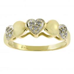 0.07 Carat Round Cut Diamond Multi Heart Ring 14K Yellow Gold