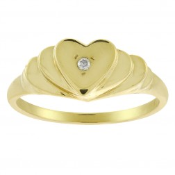 0.01 Carat Round Cut Diamond Accent Heart Ring 14K Yellow Gold