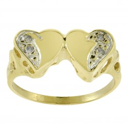 0.04 Carat Round Cut Diamond Double Heart Ring 14K Yellow Gold
