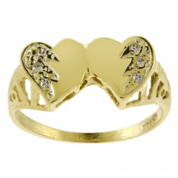 0.06 Carat Round Cut Diamond Double Heart Ring 14K Yellow Gold