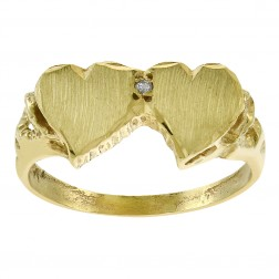 0.01 Carat Diamond Accent Double Hearts Ring 14K Yellow Gold