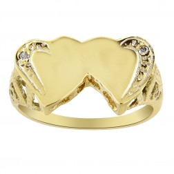 0.02 Carat Round Cut Diamond Heart Ring 14K Yellow Gold