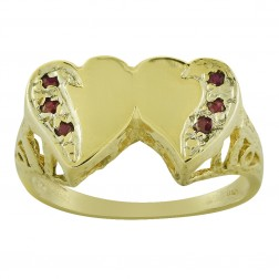 0.06 Carat Rubies Double Heart Ring 14K Yellow Gold