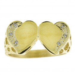 0.06 Carat Round Cut Diamond Heart Ring 14K Yellow Gold