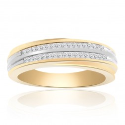0.45 Carat Princess Cut Diamond Wedding Band 14K Two Tone Gold