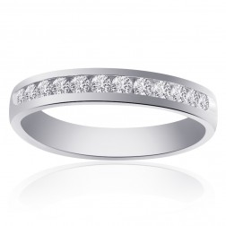 0.60 Carat Round Brilliant Cut Diamond Wedding Band 14K White Gold