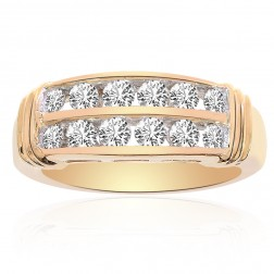 1.00 Carat Round Cut Brilliant Diamond Wedding Band 14K Yellow Gold