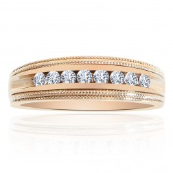 0.35 Carat Round Brilliant Cut Diamond Wedding Band 14K Yellow Gold