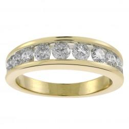 1.10 Carat Round Brilliant Cut Diamond Wedding Band 14K Yellow Gold