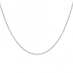 "18"" Cable Link Unisex Chain 10K White Gold"