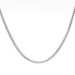 "Mens 10K White Gold 17"" inches Hollow Franco Link Necklace Chain 14.2 grams"