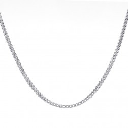"Mens 10K White Gold 34"" inches Hollow Franco Link Necklace Chain 14.8 grams"