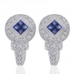 0.75 Carat Diamond & Blue Sapphire Huggy Earrings 14K White Gold