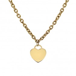 Yellow Gold Heart Tag Pendant on Heavy Cable Link Chain 14K Yellow Gold