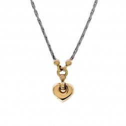 2.40mm 14K White Gold Boston Link Chain with 14K Yellow Gold Heart Pendant