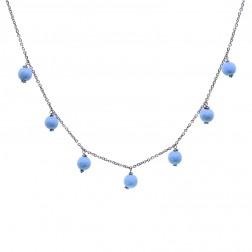 Turquoise Bead Necklace 16 inches 14K White Gold
