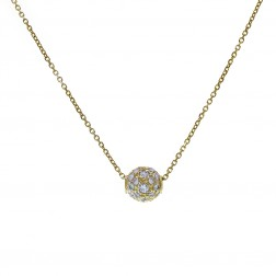 14K Yellow Gold  Rolo Chain Necklace With Movable CZ Pendant