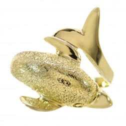 14K Yellow Gold Dolphin Ring Size 7.25